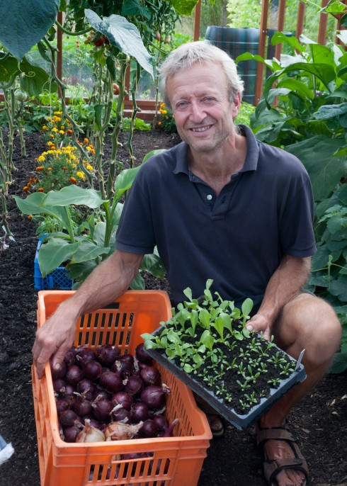 Charles Dowding in his greenhouse