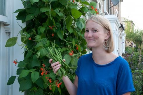 Charlotte picking her front garden runner beans 5
