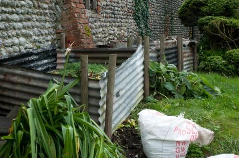 Compost bins at Wiveton Hall