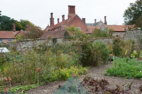 Walled Garden at Wiveton Hall with 17th century house