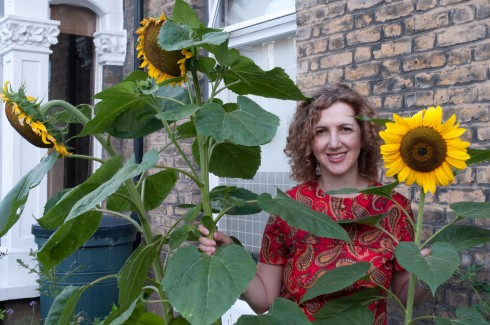 Eddi and sunflowers 2