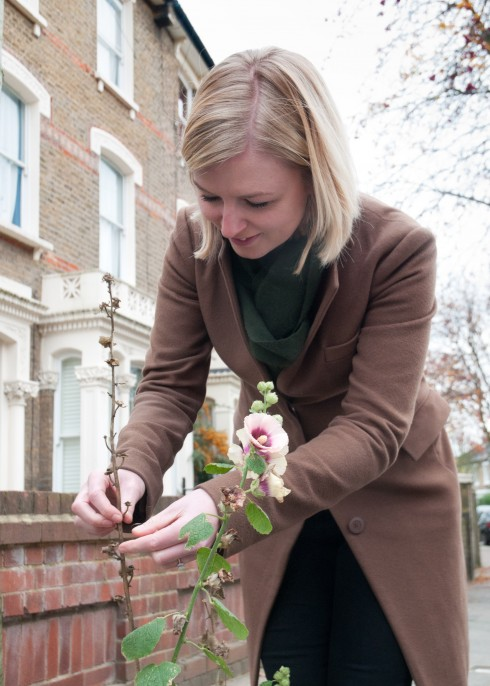 Nicole collecting seeds from street Hollyhocks
